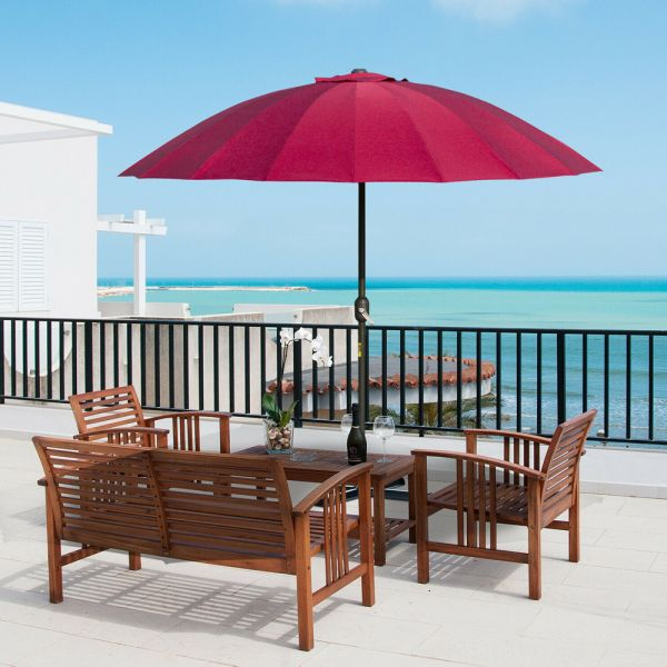 Adjustable Round Shanghai Parasol With Metal Pole - Wine Red