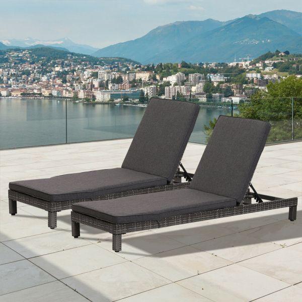 Rattan Wicker Adjustable Sun Lounger Set of 2 - Grey