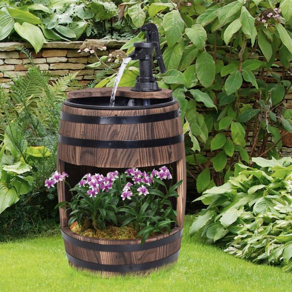 Wooden Effect Barrel Garden Waterfalls With Flower Planter