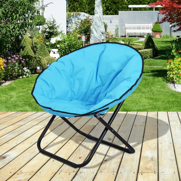 Foldable Round Moon Chair Seat - Blue
