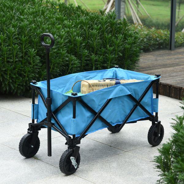 Steel Frame Foldable Wagon Trolley - Blue