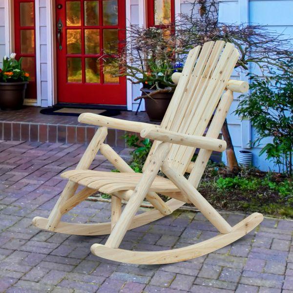 Traditional Burlywood Rocking Garden Chair