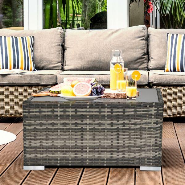 Rattan Wicker Garden Table With Glass Top - Dark Grey