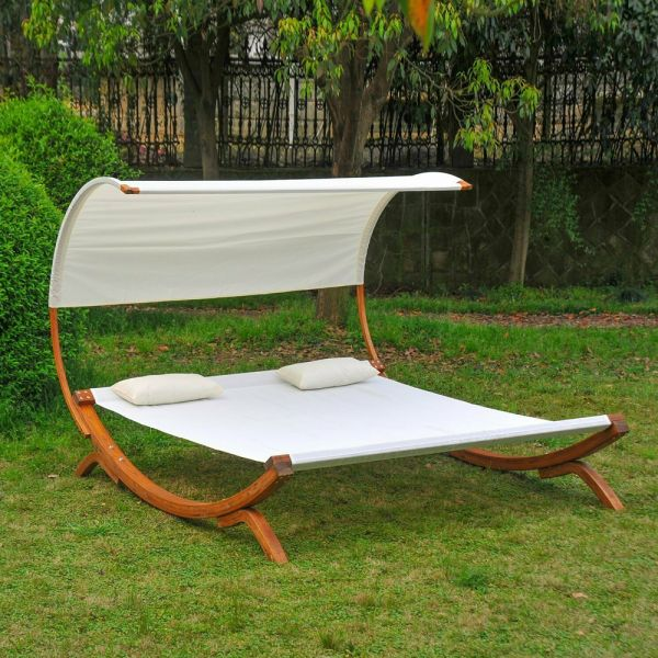 Wooden Frame Garden Hammock Bed With Canopy - Beige