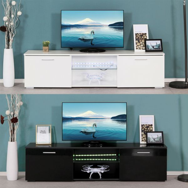 Modern TV Stand Cabinet with LED Lights - White and Black