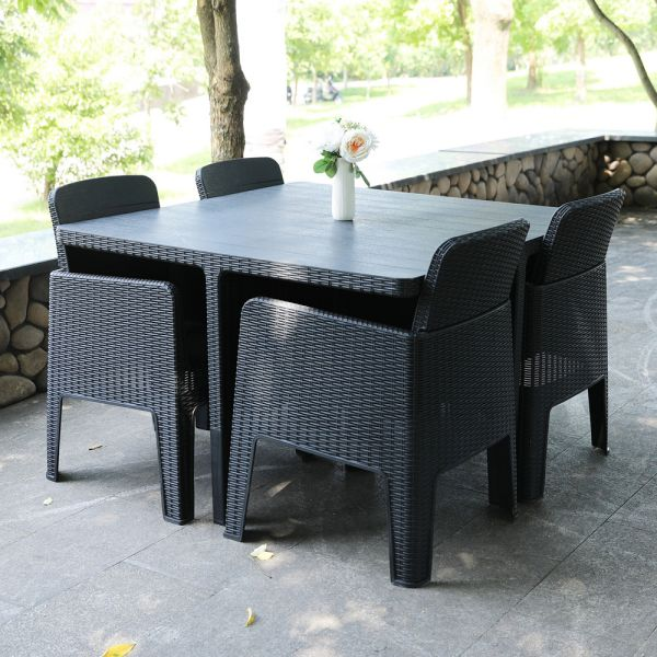 5 PCS PP Rattan Garden Table Chair Set - Black