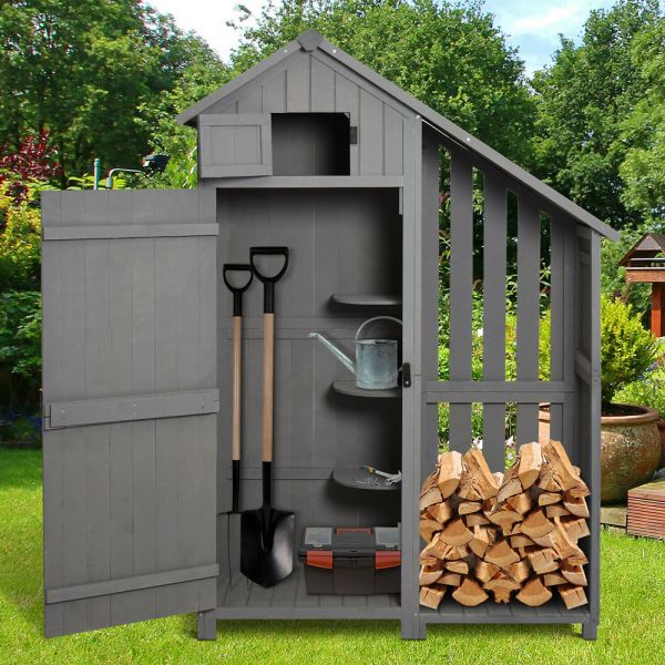 Wooden Effect Garden Shed With 3 Shelves Firewood Rack - Grey