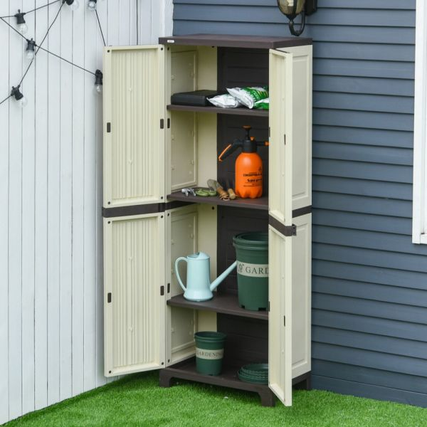 Double Door Garden Shed With Shelves - Beige
