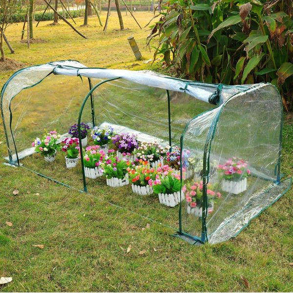 PVC Steel Frame Transparent  Greenhouse Polytunnel - 2x1x0.8M