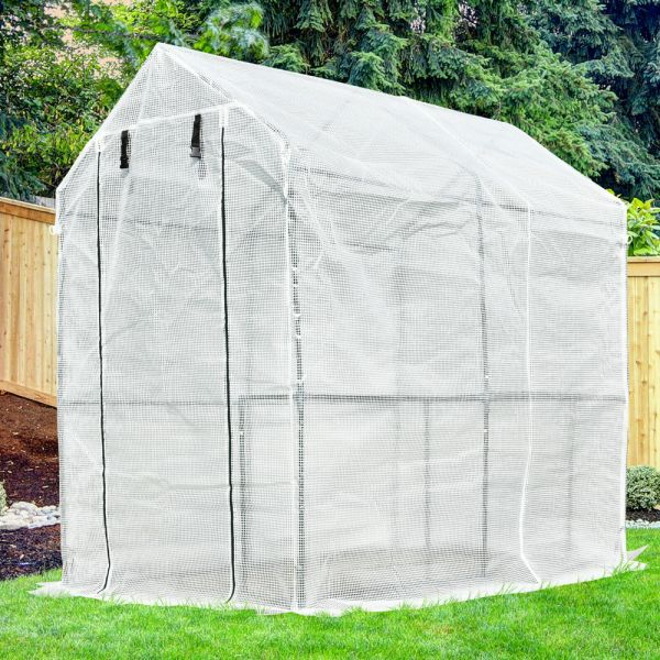 PE Steel Frame Greenhouse Polytunnel With Shelves - White