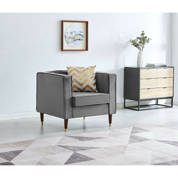 Occasional Velvet Fabric Armchair -1 Seat Lounge Chair