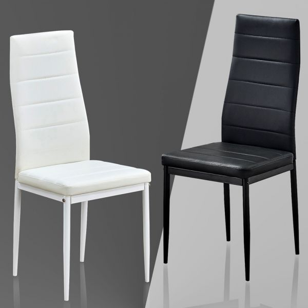 Faux Leather Padded Dining Chairs 4 or 6 set - White and Black