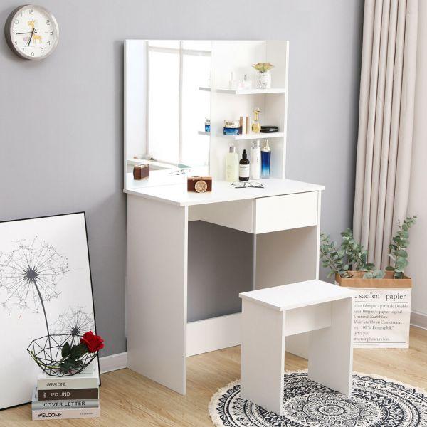 Elegant Corner Dressing Table - White