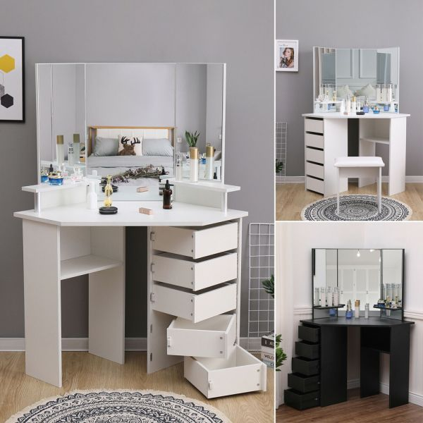 Modern Corner Dressing Table With Sliding Drawers - White and Black