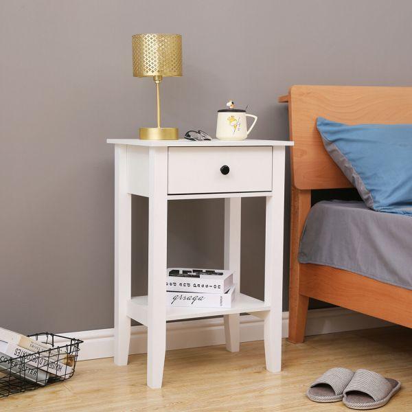 Modern Bedside Table Cabinet - White