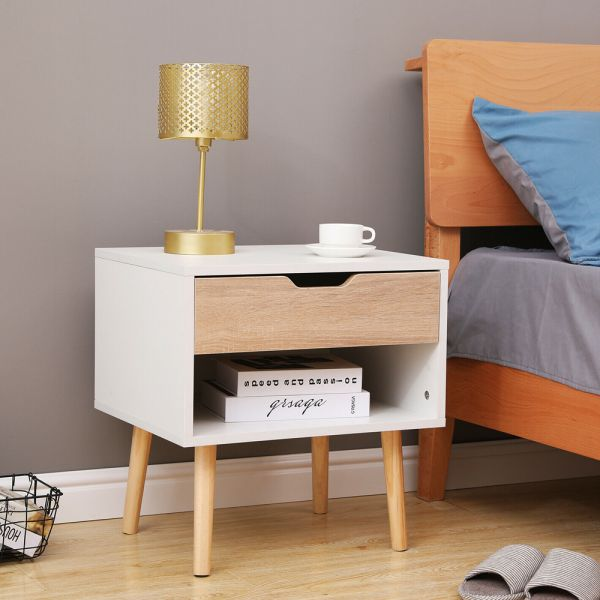 Stylish Wooden Bedside Table - White
