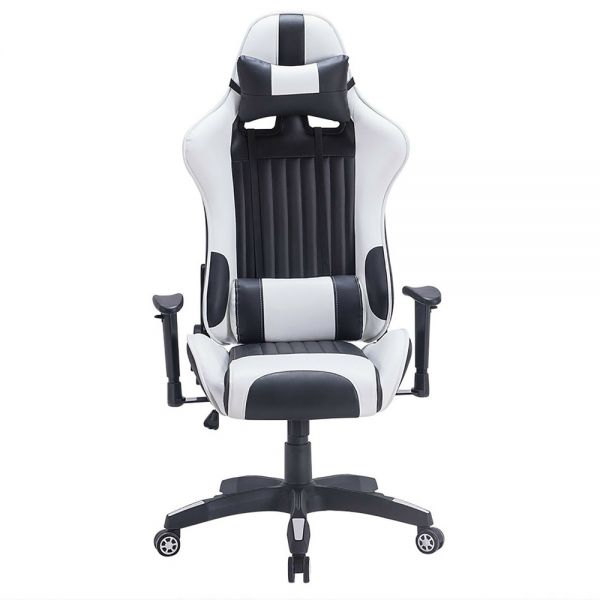 Executive Swivel Leather Gaming Chair - White And Black