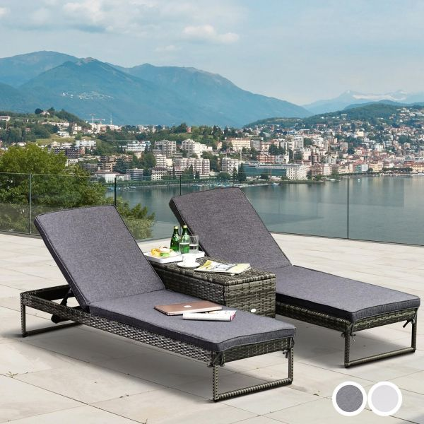 Outsunny PE Rattan 2-Seat Outdoor Garden Sun Lounger Set with Table - 2 Colours
