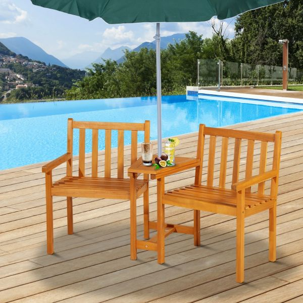 Outsunny Acacia Wood 2-Seater Outdoor Garden Armchair Bench with Table