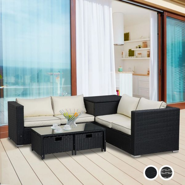 Outsunny 4 PCs Rattan Furniture Sofa Storage Table Set with 2 Drawers Corner Table - 2 Colours