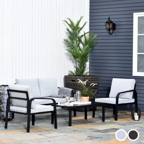 Outsunny 4-Seater Outdoor PE Rattan Table and Chairs Set - 2 Colours