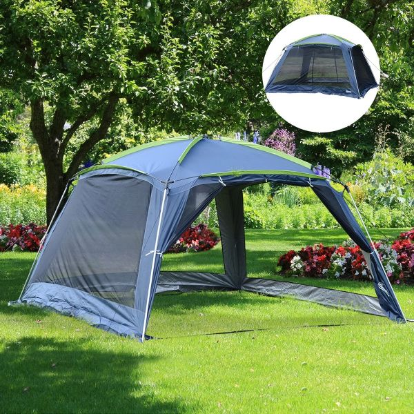 Outsunny 5 to 8 Persons Camping Tent - Dark Blue/Green