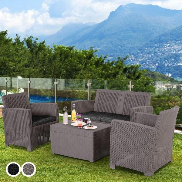 Outsunny 4-Seater Outdoor Garden PP Rattan Effect Furniture Set with Cushion - 2 Colours