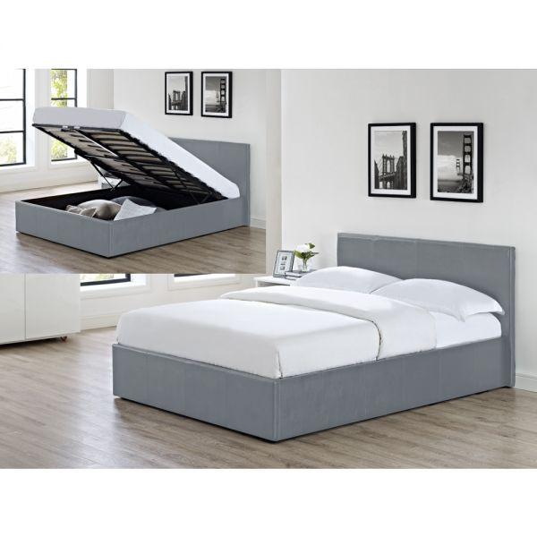 LUNA Ottoman Storage Gas Lift Bed Grey Colour - 4 Sizes