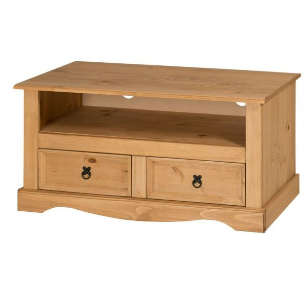 Corona Solid Pine Wide TV Stand With 2 Drawers - Antique Wax