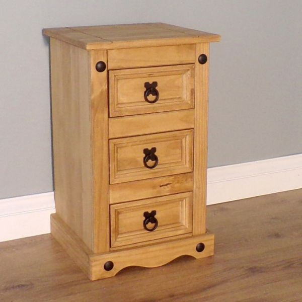 Corona Solid Pine Bedside Cabinet Table 3 Drawer