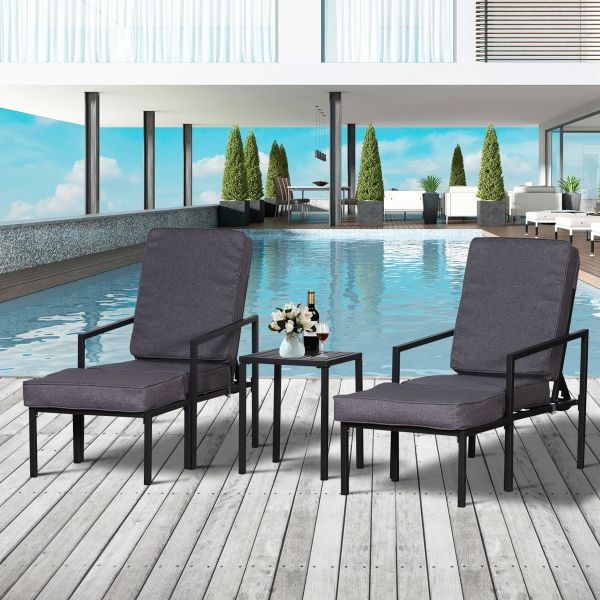 Outsunny 5-Piece Outdoor Garden Metal Patio Lounge Set with Cushions - Black/Grey