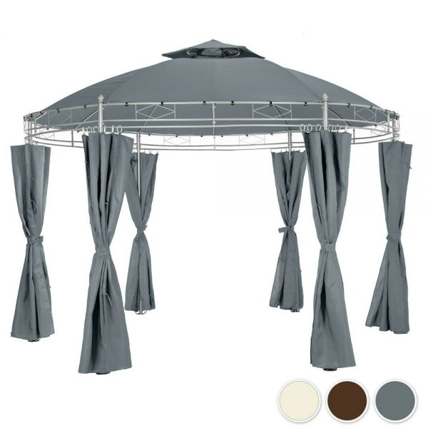 Luxury Gazebo Garden Pavilion Tent With Side Curtains - 3 Colours