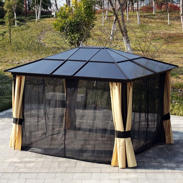 Outsunny 3.6x3m Outdoor Aluminium Alloy Gazebo with LED Solar Lights - Beige