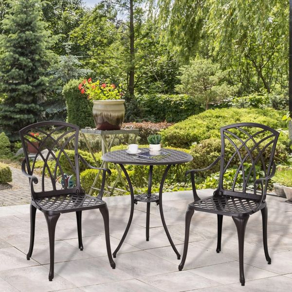 Outsunny Cast Aluminium 2-Seater Outdoor Garden Table & Chair Set - Brown