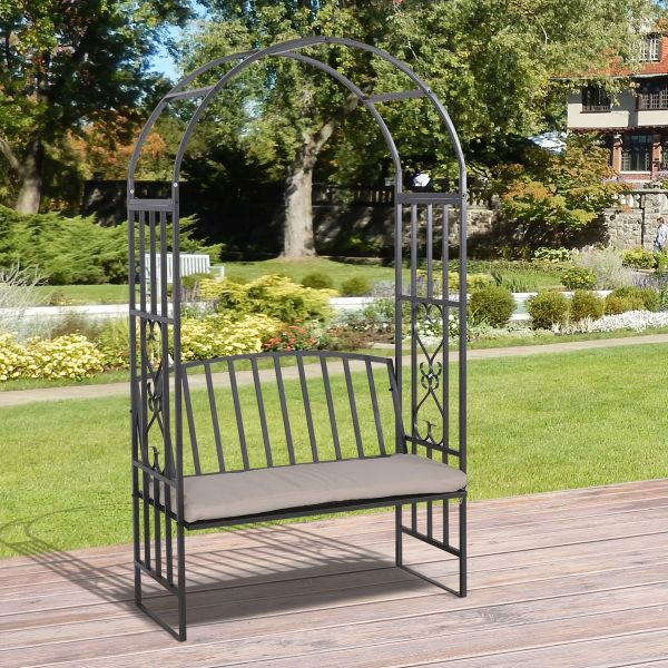 Outsunny Metal Frame Bench with Arch - Grey
