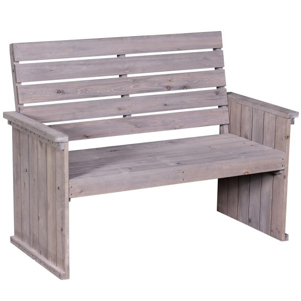 Outsunny Fir Wood High-Back Garden Loveseat Bench