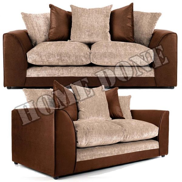 Aruba Brown and Beige Fabric 3 and 2 Seater Sofa
