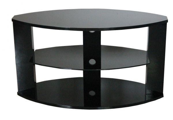 Oval 3-Shelf Black TV Stand