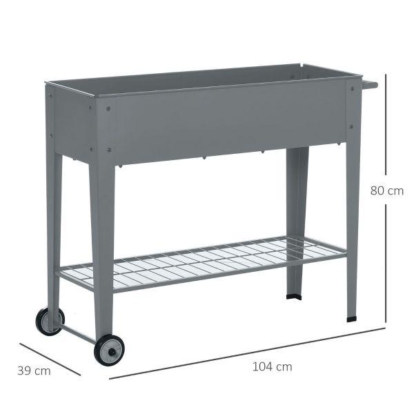 Metal Frame Garden Raised Bed With Wheels And Bottom Shelf - Dark Grey