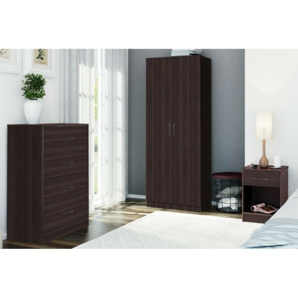 Wardrobe Chest of Drawers Bedside Trio Set - Storage Cabinet