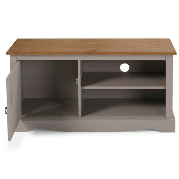 Corona Solid Pine TV Unit 1 Door - Grey Wax