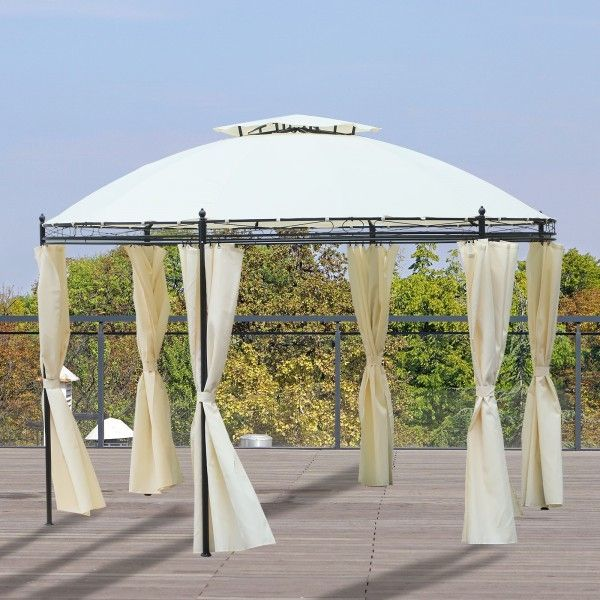 Outsunny 2-Tier Round Roof Gazebo Tent Pavilion