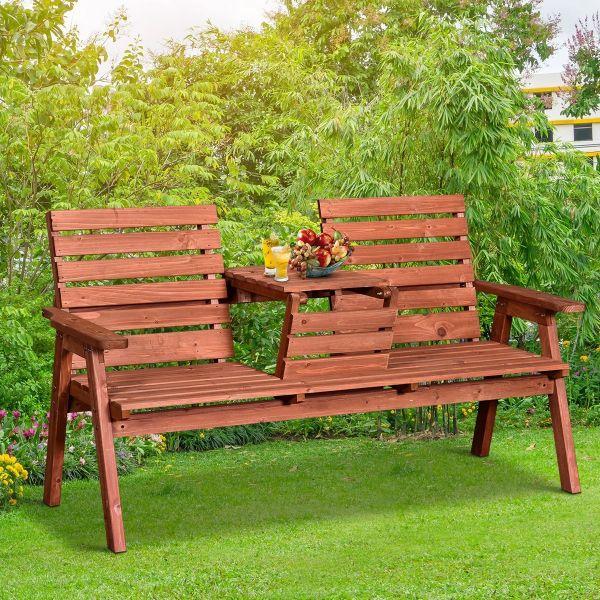 Outsunny Fir Wood Convertible 2 to 3 Seater Outdoor Garden Bench - Orange