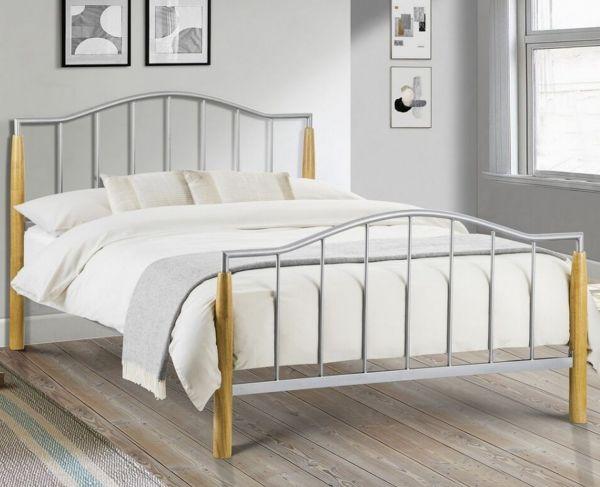 Julian Bowen Carmel Aluminium & Oak Bed Frame