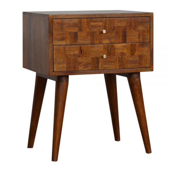 Mixed 2 Drawer Chestnut Bedside Table