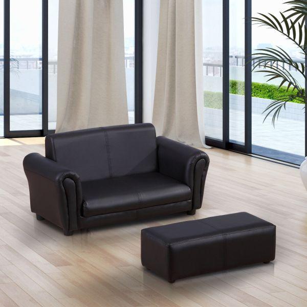 Homcom Kids 2-Seater Twin Sofa & Footstool - Black or White