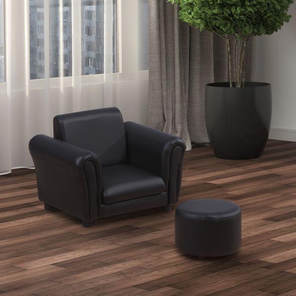 Homcom Kids Armchair & Footstool - Black or Pink