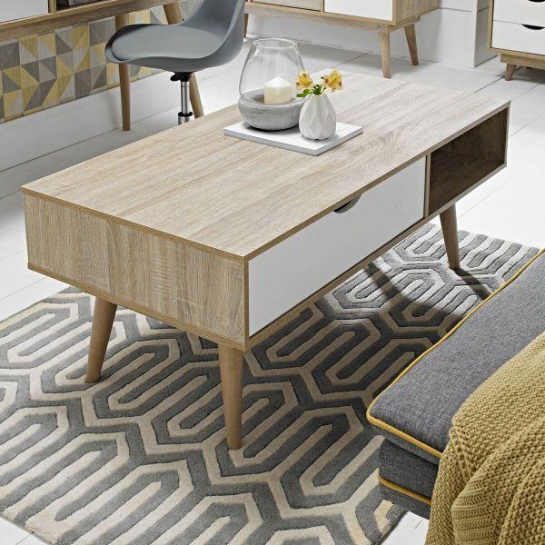 LPD Scandi 1 Drawer Oak Coffee Table - White or Grey