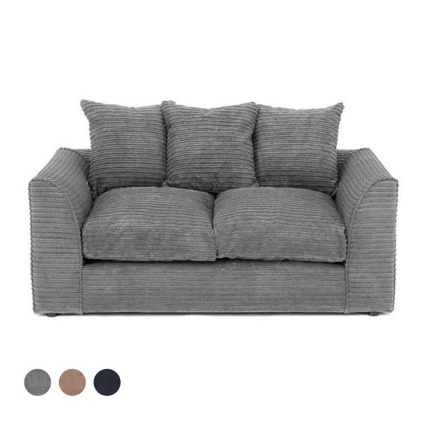 Porto Jumbo Cord 2 Seater Sofa - Grey