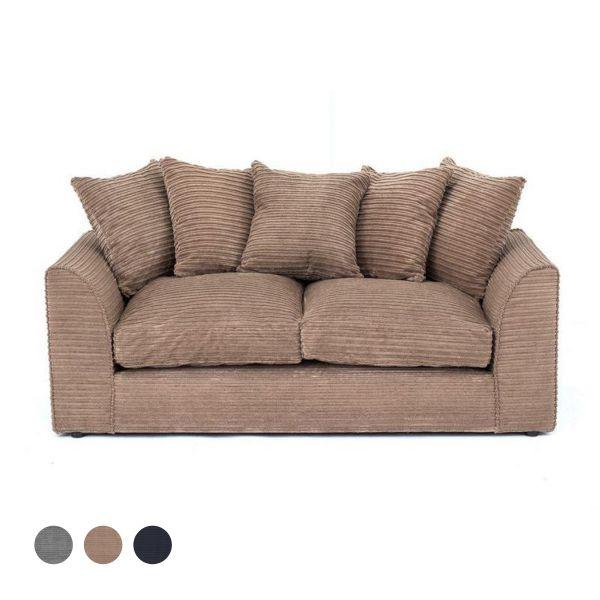 Porto Jumbo Cord 3 Seater Sofa - Brown